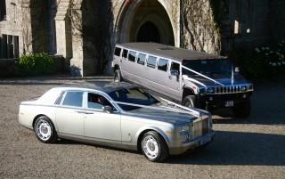Silver Rolls Royce Phantom with Silver H2 Hummer